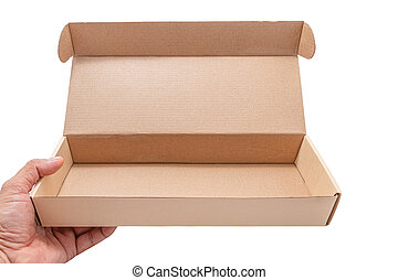 Hand holding cardboard box opened empty isolated on white...