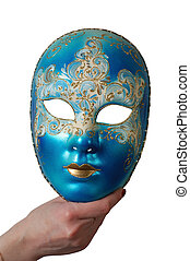 carnival mask - hand holding carnival mask, isolated on ...