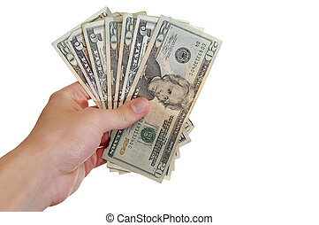 A hand holding a bunch of american 5's and 20's