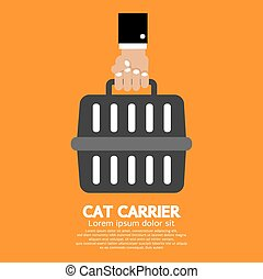 Hand Holding Cat Carrier. - Cat Carrier Vector Illustration.