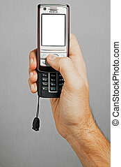 Hand holding cell phone