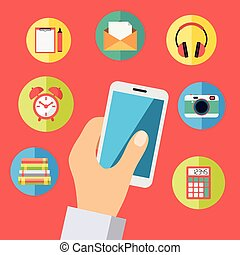 Hand holding cell phone with icons