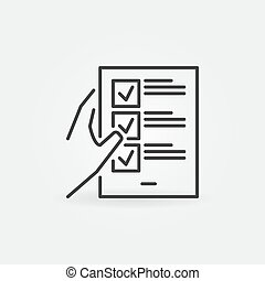 Hand holding checklist outline vector concept icon