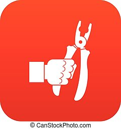 Hand holding chisel icon digital red for any design isolated...