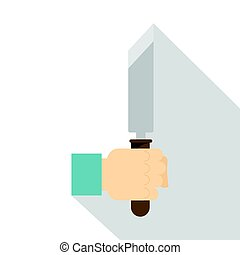 Hand holding chisel icon, flat style - Hand holding chisel...