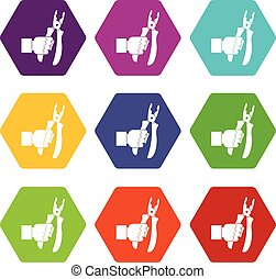 Hand holding chisel icon set color hexahedron - Hand holding...
