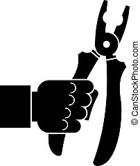 Hand holding chisel icon, simple style - Hand holding chisel...