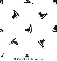 Hand holding chisel pattern seamless black