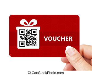 hand holding christmas voucher isolated over white ...