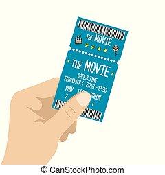 Hand holding cinema ticket, isolated on white background, ...