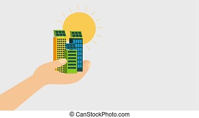 ecology energy renewable - hand holding city buildings solar...