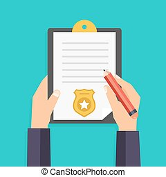 Hand holding clipboard with checklist and pen for police report. Traffic, parking fine, citation, crime report, problems with police, subpoena concepts. Vector illustration.
