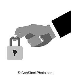 hand holding closed padlock icon