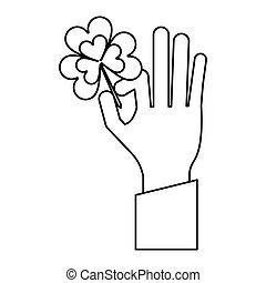 hand holding clover st patricks day thin line
