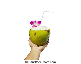 Hand holding coconut juice isolated.