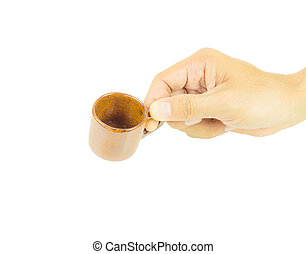 Hand holding coffee cup on white background