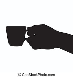 hand holding coffee cup silhouette