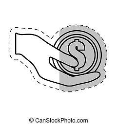 hand holding coin currency dollar