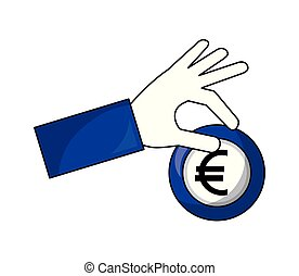 hand holding coin euro money