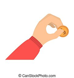 hand holding coin with red sleeve vector illustration
