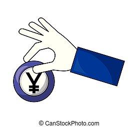 hand holding coin yen money