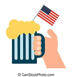 hand holding cold beer and american flag