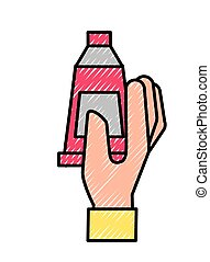 hand holding color tube paint art