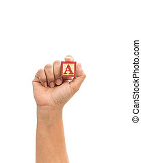"Hand holding colorful alphabet blocks ""A"" isolated on white"