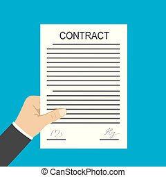Hand holding contract document