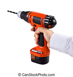 Hand holding cordless drill isolated on white background