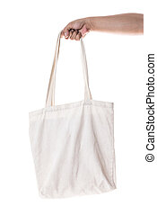 Hand holding cotton eco bag on white background