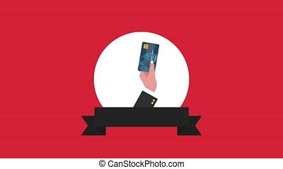 Hand holding credit card HD animation