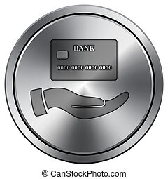 Hand holding credit card icon. Round icon imitating metal.