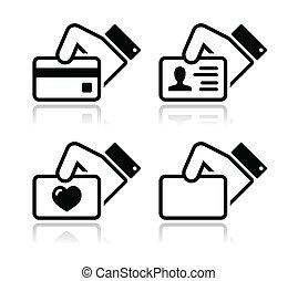 Modern black icons set with reflection - hand holding card using credit card, showing ID