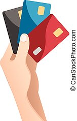 Hand holding credit card in flat design style.