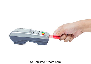 Hand holding credit card swipe through terminal for sale isolated on white