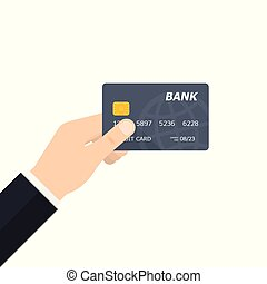 Hand holding Credit Card. Vector illustration
