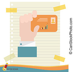 Hand holding credit card, vector illustration.