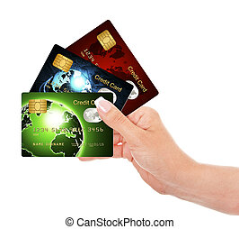 hand holding credit cards isolated over white