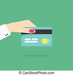 Hand holding credit or debit card vector illustration...