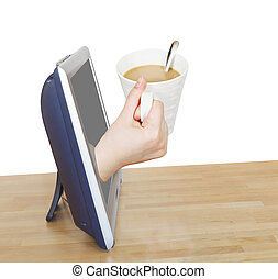 hand holding cup of coffee with milk leans out TV