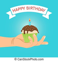 Hand holding cupcake Birthday illustration