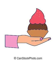 hand holding cupcake cartoon