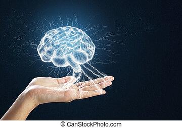 Hand holding digital brain