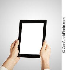 Digital Tablet - Hand Holding Digital Tablet, closeup