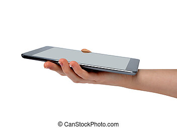 hand holding digital tablet pc on white background