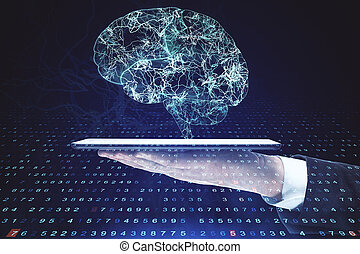 Hand holding digital tablet with creative brain and lines. Artificial intelligence and innovation concept. Multiexposure