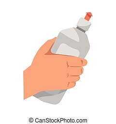 Hand holding dish washing liquid vector flat isolated icon