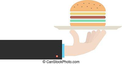 hand holding dish with hamburger