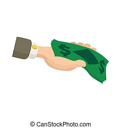 Hand holding dollar banknotes icon, cartoon style